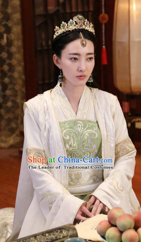 Traditional Ancient Chinese Female Costume and Handmade Headpiece Complete Set, Elegant Hanfu Clothing Chinese Southern and Northern Dynasty Nobility Imperial Princess Clothing