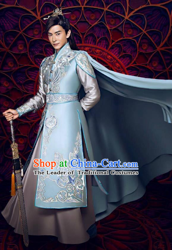 Traditional Ancient Chinese Swordsman Costume and Handmade Headpiece Complete Set, Elegant Hanfu Chinese Southern and Northern Dynasty Chivalrous Expert Clothing