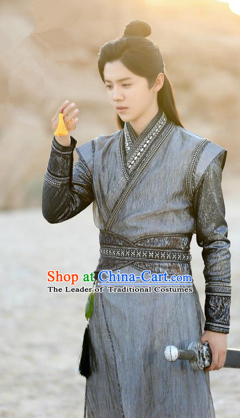 Traditional Ancient Chinese Tang Dynasty Swordsman Costume, Fighter of the Destiny Young Men Clothing Taoist Priest Cloth