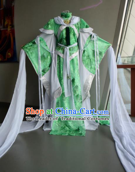 Top Grade Traditional China Ancient Cosplay Costumes, China Ancient Young Lady Princess Elegant Hanfu Green Dress for Women