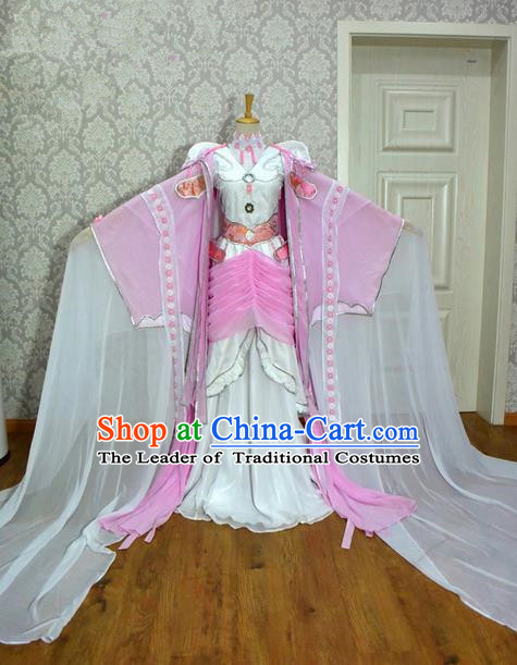 Top Grade Traditional China Ancient Cosplay Princess Costumes, China Ancient Young Lady Peri Pink Dress Clothing for Women