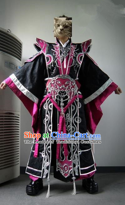 Top Grade Traditional China Ancient Cosplay Prince Swordsman Costumes, China Ancient Taoist Master Hanfu Clothing for Men