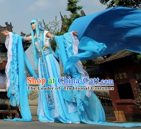 Top Grade Traditional China Ancient Cosplay Princess Swordswoman Costumes, China Ancient Fairy Dress Hanfu Clothing for Women