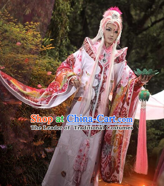 Top Grade Traditional China Ancient Cosplay Swordswoman Costumes, China Ancient Fairy Dress Hanfu Wide Sleeve Clothing for Women