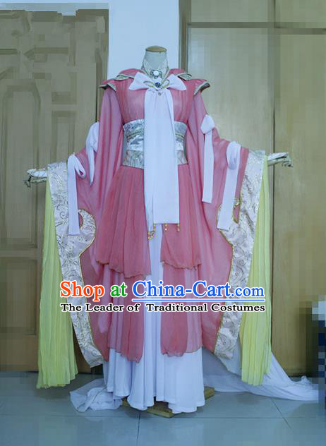 Top Grade Traditional China Ancient Young Lady Swordswoman Costumes Complete Set, China Ancient Cosplay Tang Dynasty Princess Hanfu Clothing for Women
