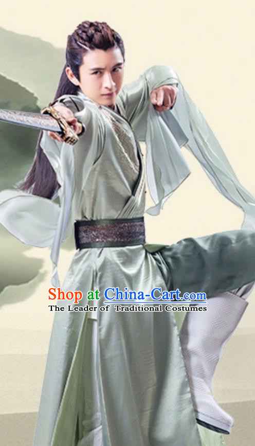 Traditional Ancient Chinese Tang Dynasty Swordsman Costume, Xuanyuan Sword Han Cloud Nobility Childe Clothing and Headpiece Complete Set
