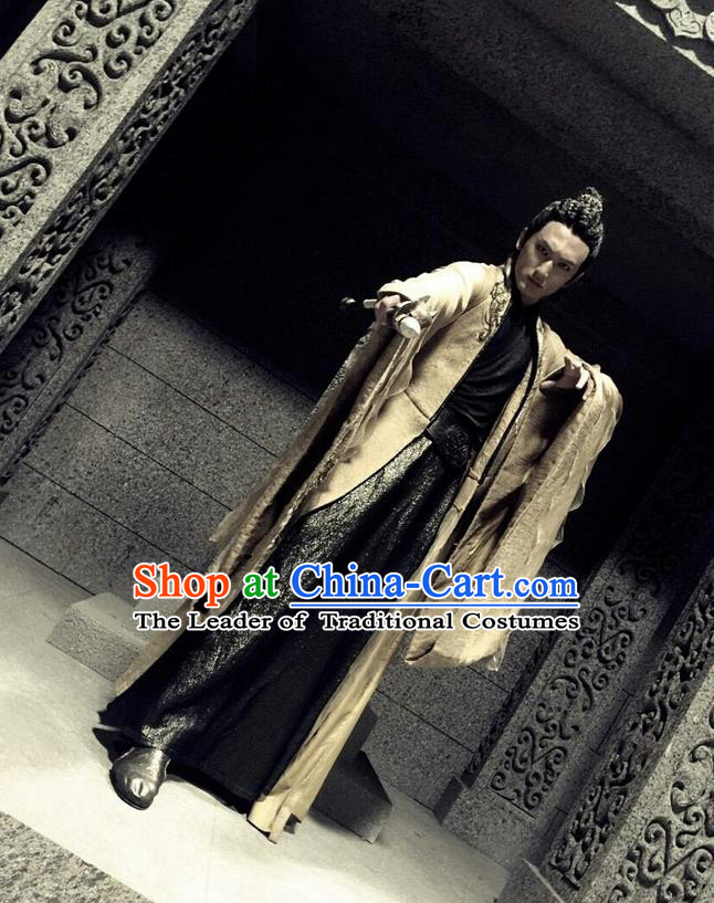 Traditional Ancient Chinese Tang Dynasty Imperial Prince Costume, Xuanyuan Sword Han Cloud Swordsman Embroidery Robe Clothing Complete Set