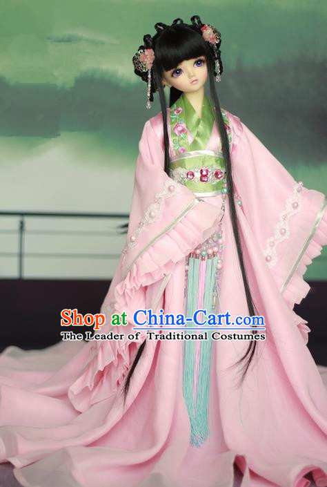 Top Grade Traditional China Ancient Female Costumes Complete Set, China Ancient Cosplay Han Dynasty Princess Pink Dress Hanfu Clothing for Adults and Kids