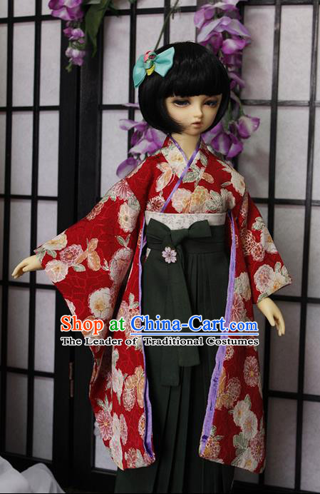 Top Grade Traditional Japan Kimono Costumes Complete Set, Ancient Japanese Kimono Cosplay Red Clothing for Adults and Kids