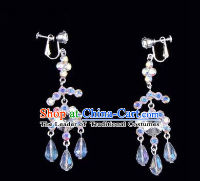 Chinese Ancient Peking Opera Head Accessories Young Lady Diva Colorful Crystal White Earrings, Traditional Chinese Beijing Opera Hua Tan Eardrop Ear Pendants