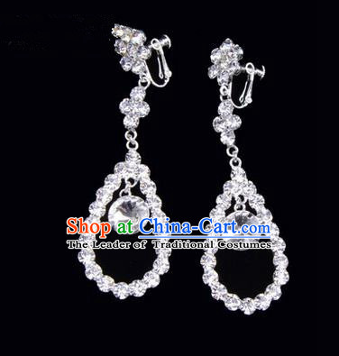 Chinese Ancient Peking Opera Head Accessories Young Lady Diva Colorful Crystal White Water Drop Earrings, Traditional Chinese Beijing Opera Hua Tan Ear Pendants