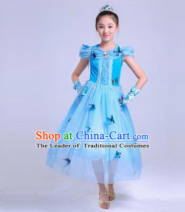 Top Grade Chinese Professional Halloween Performance Butterfly Costume, Children Cosplay Princess Blue Bubble Dress for Kids