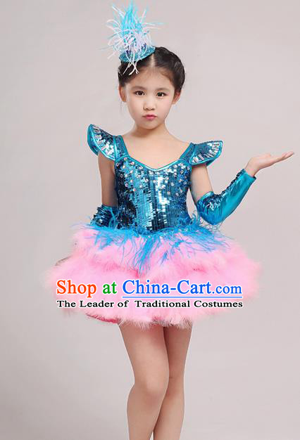Top Grade Chinese Professional Performance Jazz Dance Costume, Children Modern Dance Feather Blue Bubble Dress for Kids