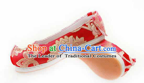 Chinese Ancient Peking Opera Young Lady Wedding Shoes, Traditional Chinese Ancient Princess Hanfu Cloth Shoes Bride Red Bow Shoes for Women