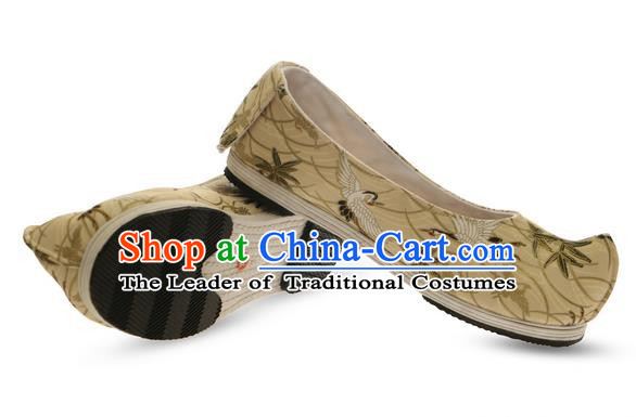 Chinese Ancient Peking Opera Young Lady Crested Shoes, Traditional Chinese Ancient Princess Hanfu Cloth Shoes Bow Shoes for Women