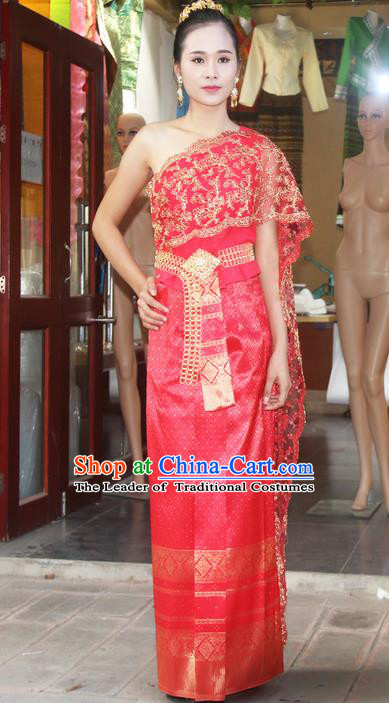Traditional Thailand Ancient Handmade Costumes, Traditional Thai China Dai Nationality Bride Wedding Red Dress Clothing for Women