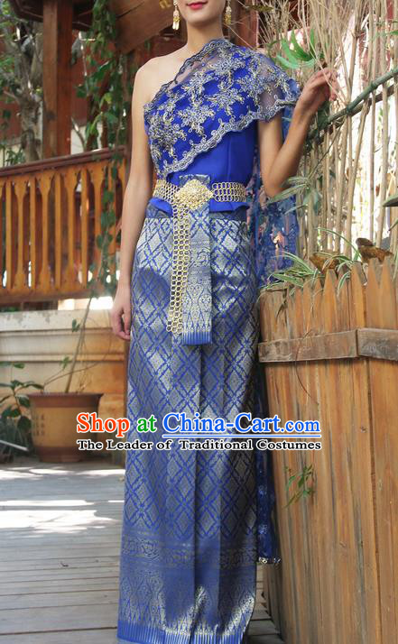 Traditional Thailand Ancient Handmade Costumes, Traditional Thai China Dai Nationality Bride Wedding Blue Dress Clothing for Women