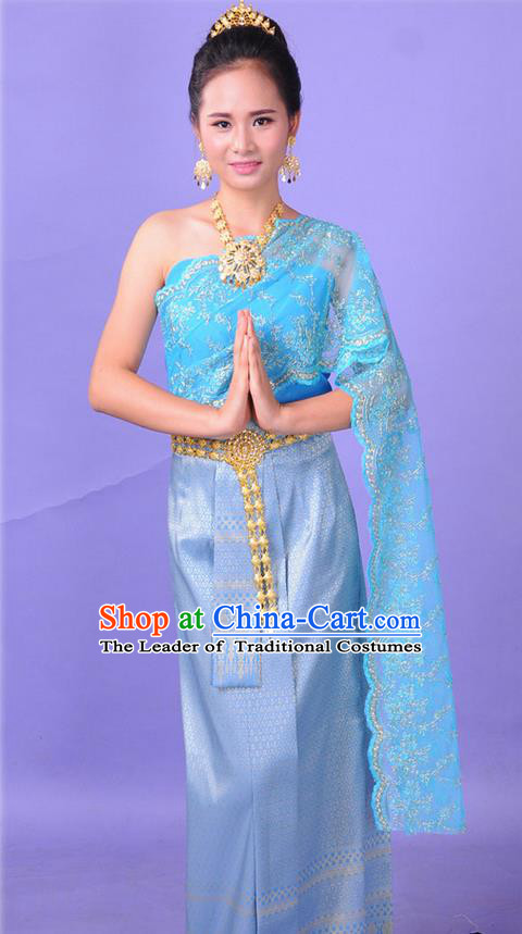 Traditional Thailand Ancient Handmade Princess Costumes, Traditional Thai China Dai Nationality Bride Wedding Blue Dress Clothing for Women