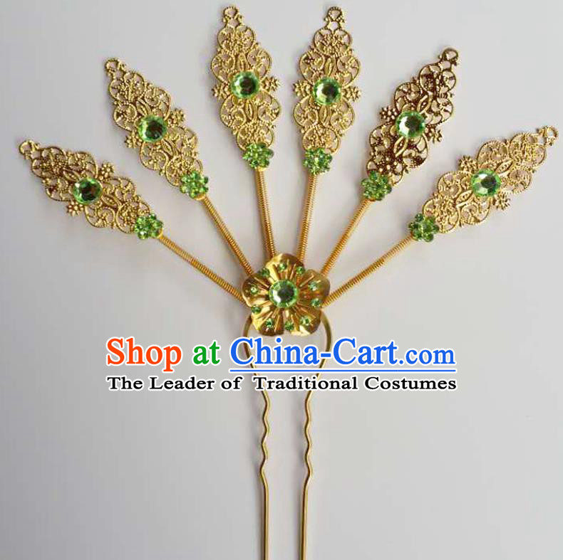 Traditional Thailand Ancient Handmade Hair Accessories Headpiece, Traditional Thai China Dai Nationality Green Crystal Hairpins Headwear for Women