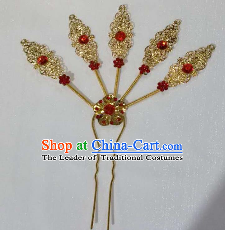 Traditional Thailand Ancient Handmade Hair Accessories Headpiece, Traditional Thai China Dai Nationality Red Crystal Hairpins Headwear for Women