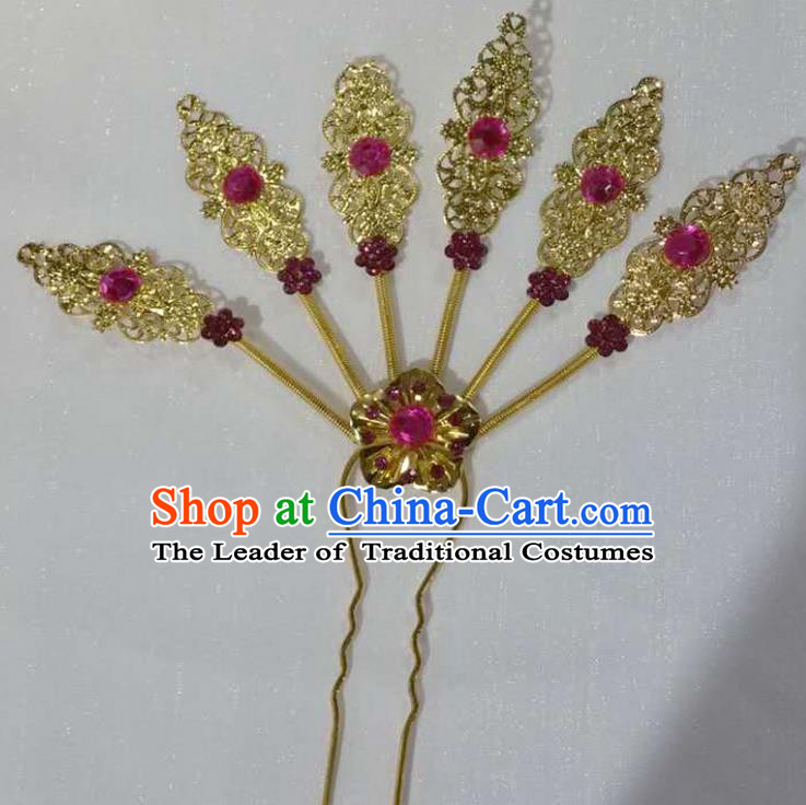 Traditional Thailand Ancient Handmade Hair Accessories Headpiece, Traditional Thai China Dai Nationality Pink Crystal Hairpins Headwear for Women