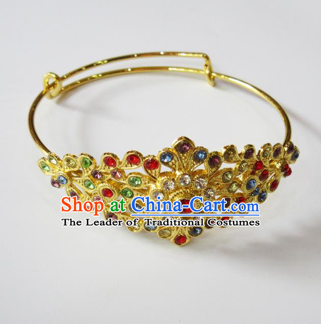 Traditional Thailand Ancient Handmade Jewelry Accessories Bracelet, Traditional Thai China Dai Nationality Colorful Crystal Bangle for Women