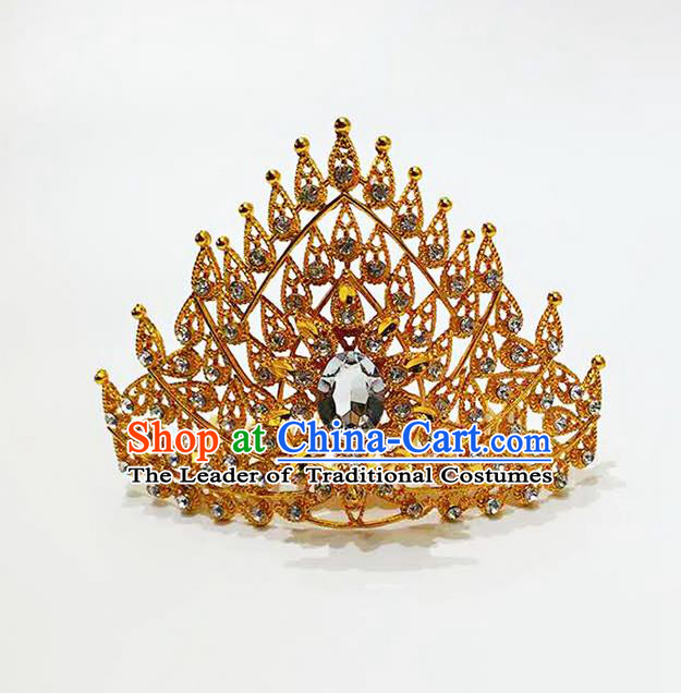 Traditional Thailand Ancient Handmade Hair Accessories, Traditional Thai China Dai Nationality White Crystal Royal Crown for Women