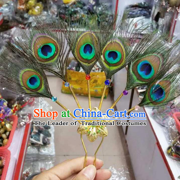 Traditional Thailand Ancient Handmade Hair Accessories Peacock Feather Headpiece, Traditional Thai China Dai Nationality Hairpins Headwear for Women