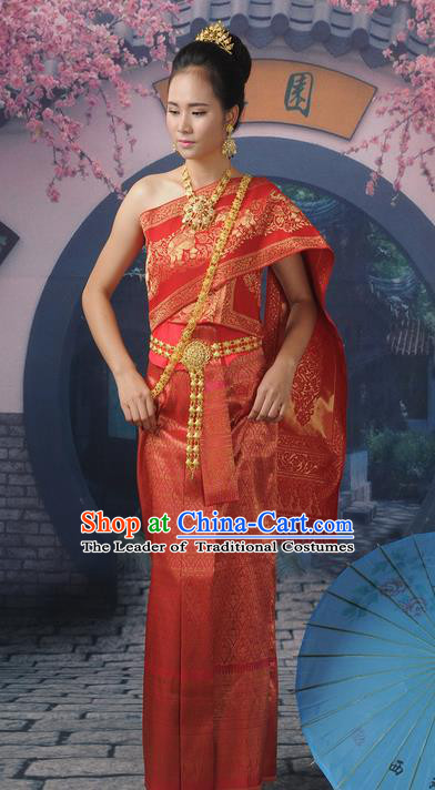 Traditional Thailand Ancient Handmade Young Lady Wedding Costumes, Traditional Thai China Dai Nationality Red Dress Clothing for Women