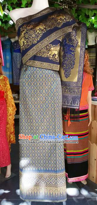 Traditional Thailand Ancient Handmade Young Lady Wedding Costumes, Traditional Thai China Dai Nationality Blue Dress Clothing for Women