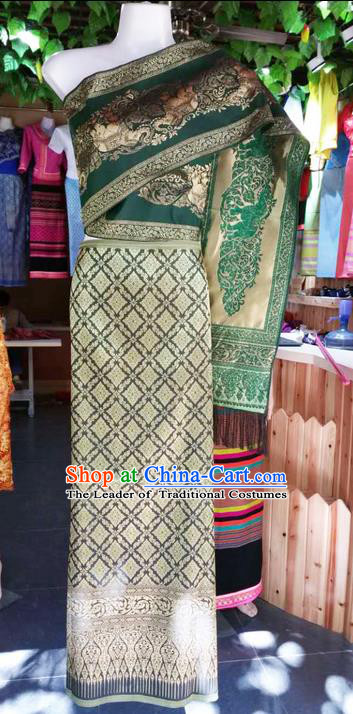 Traditional Thailand Ancient Handmade Young Lady Wedding Costumes, Traditional Thai China Dai Nationality Green Dress Clothing for Women
