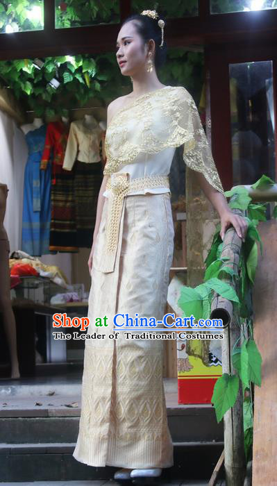 Traditional Thailand Ancient Handmade Young Lady Costumes, Traditional Thai Princess China Dai Nationality Dress Clothing for Women