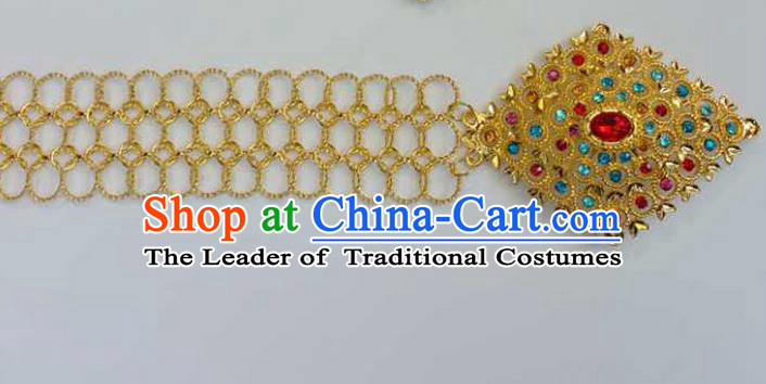 Traditional Thailand Ancient Handmade Golden Waist Chain Accessories, Traditional Thai China Dai Nationality Colorful Crystal Belts Pendant for Women