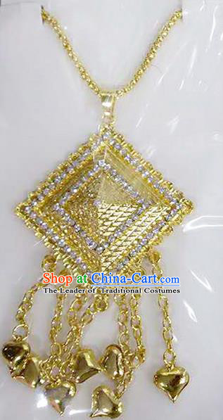 Traditional Thailand Ancient Handmade Wedding Jewelry Accessories, Traditional Thai China Dai Nationality Crystal Tassel Necklace for Women
