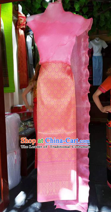 Traditional Thailand Ancient Handmade Female Costumes, Traditional Thai China Dai Nationality Wedding Bride Pink Dress Clothing for Women