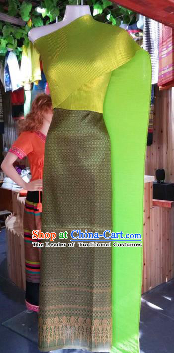 Traditional Thailand Ancient Handmade Female Costumes, Traditional Thai China Dai Nationality Wedding Bride Green Dress Clothing for Women