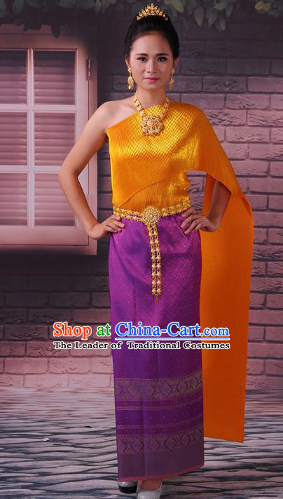 Traditional Thailand Ancient Handmade Female Costumes, Traditional Thai China Dai Nationality Wedding Bride Purple Dress Clothing for Women
