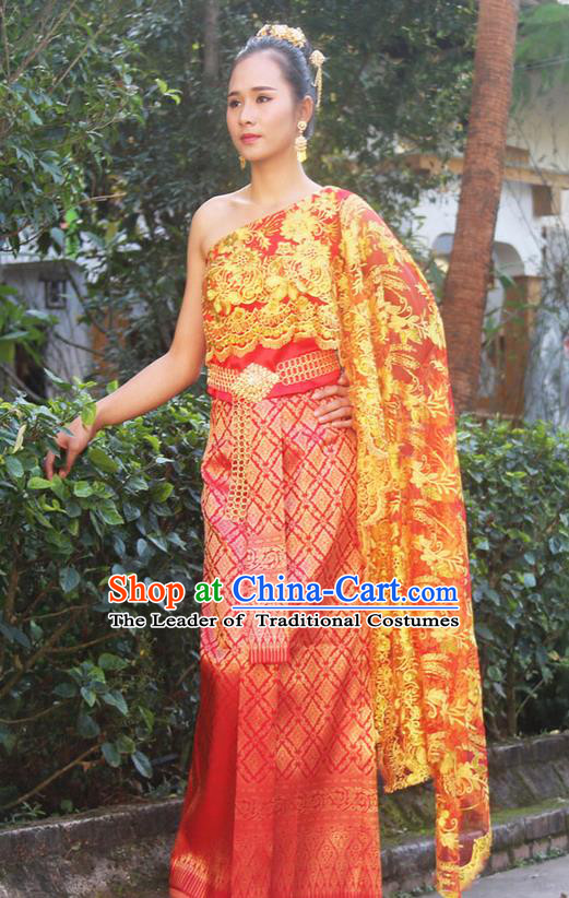 Traditional Thailand Ancient Handmade Female Princess Costumes, Traditional Thai China Dai Nationality Wedding Bride Red Dress Clothing for Women