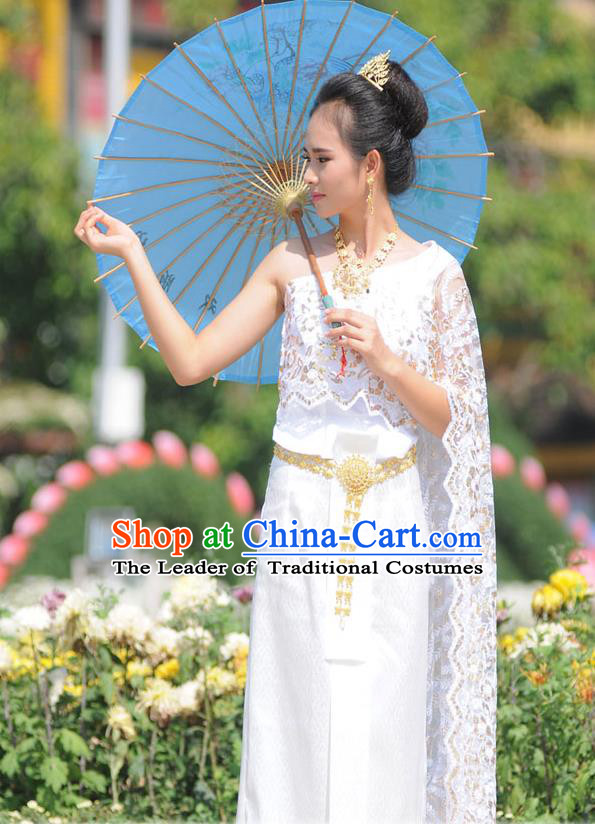 Traditional Thailand Ancient Handmade Female Princess Costumes, Traditional Thai China Dai Nationality Wedding White Lace Dress Clothing for Women