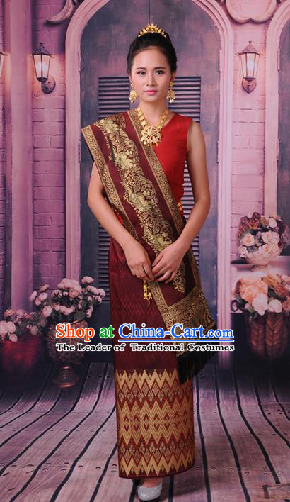 Traditional Thailand Ancient Handmade Female Costumes, Traditional Thai Princess China Dai Nationality Wedding Red Dress Clothing for Women