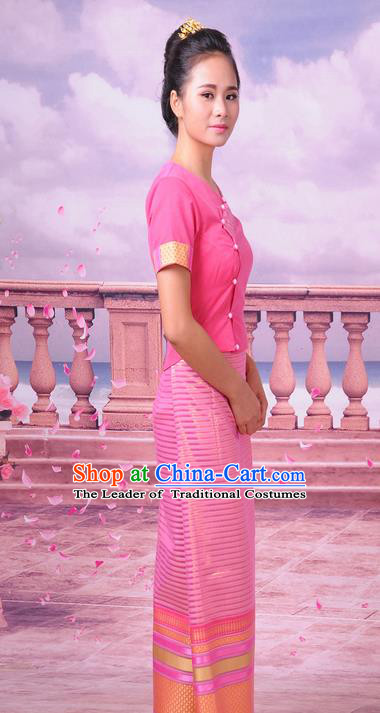 Traditional Thailand Ancient Handmade Female Costumes, Traditional Thai Lady China Dai Nationality Pink Dress Clothing for Women