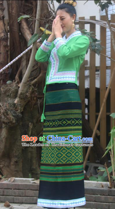 Traditional Thailand Ancient Handmade Female Costumes, Traditional Thai Uniform China Dai Nationality Dark Green Dress Clothing for Women