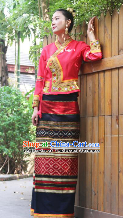 Traditional Thailand Ancient Handmade Female Costumes, Traditional Thai Uniform China Dai Nationality Dark Red Dress Clothing for Women