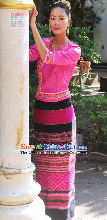 Traditional Thailand Ancient Handmade Female Costumes, Traditional Thai Uniform China Dai Nationality Dark Rosy Dress Clothing for Women