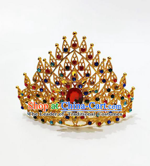 Traditional Thailand Ancient Handmade Hair Accessories, Traditional Thai China Dai Nationality Red Crystal Royal Crown for Women