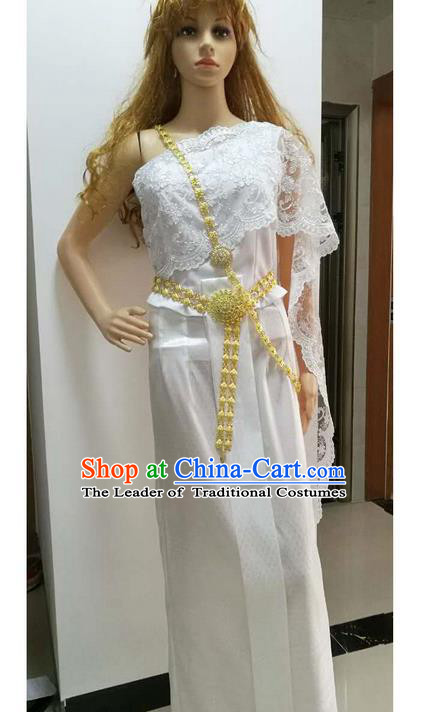 Traditional Thailand Ancient Handmade Female Costumes and Belts, Traditional Thai Princess Tight Skirt China Dai Nationality Wedding Dress Clothing for Women