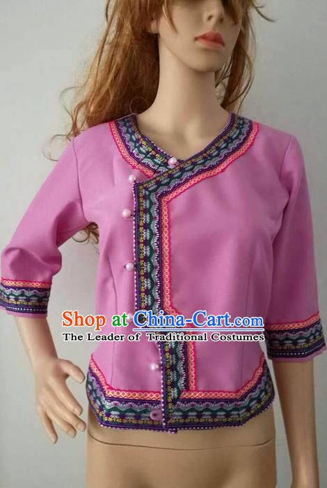 Traditional Thailand Ancient Handmade Female Costumes Upper Outer Garment, Traditional Thai Clothing China Dai Nationality Pink Blouse for Women