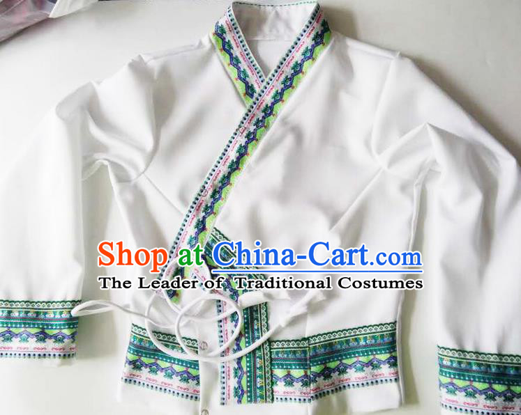 Traditional Thailand Ancient Handmade Female Costumes Upper Outer Garment, Traditional Thai Clothing China Dai Nationality White Blouse for Women