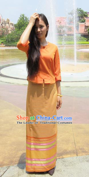 Traditional Thailand Ancient Handmade Female Costumes, Traditional Thai Tight Skirt China Dai Nationality Water-Sprinkling Festival Orange Dress Clothing for Women