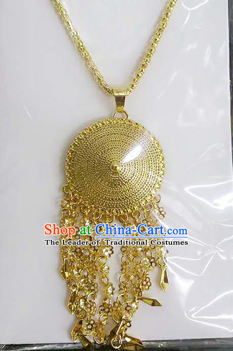 Traditional Thailand Ancient Handmade Wedding Jewelry Accessories Golden Necklace, Traditional Thai Princess China Dai Nationality Collar Chain for Women
